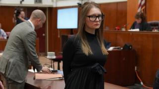 Fake German heiress Anna Sorokin is led away after being sentenced in Manhattan Supreme Court May 9, 2019 following her conviction last month on multiple counts of grand larceny and theft of services