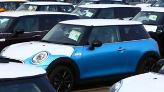 Mini cars parked
