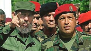 Fidel Castro ao lado de Hugo Chávez