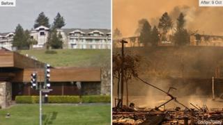山火事の前のサンタローザのヒルトンホテル(左)と10月9日の同ホテル