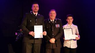 The Chief Constable - Heddlu Dyfed Powys Police with Sergeant Gareth Earp and his son Theo