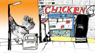 Illustration of a fast food chicken restaurant
