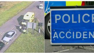 Emergency services at the scene and a Police Accident sign
