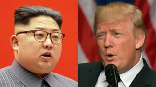 Composite image of Kim Jong-un and Donald Trump