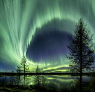 Северное сияние в Сибири