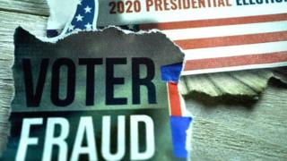 "Image showing a newspaper cutting saying ""voter fraud"" and a US flag with 2020 presidential election written on it"