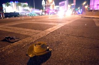 A cowboy hat lies in the street after shots were fired near a country music festival on 1 October 2017 in Las Vegas, Nevada.