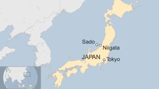A map of Sado Island in the Sea of Japan