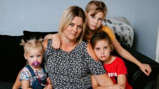 Katie Stevenson and three daughters, Lacey, 11, Taleisha, seven, and Skyla, one
