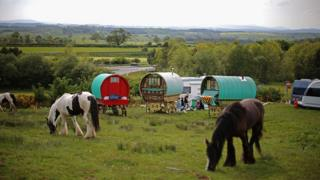 Traditional Romany caravans camp on Fair Hill during the Appleby Horse Fair on June 4, 2015