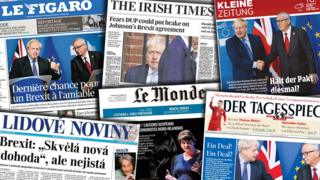 Front pages of several European newspapers