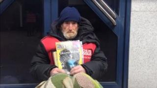 Big Issue seller Paul on East Gate Street in Gloucester