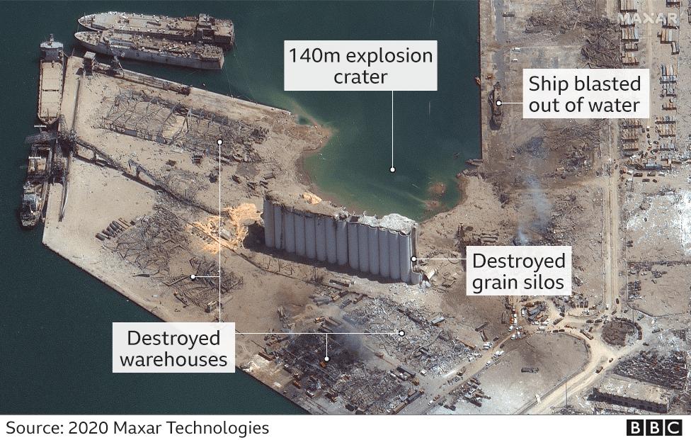 Спутниковое изображение, показывающее непосредственную область вокруг зоны взрыва
