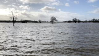 environment Flooded plains in south Worcestershire