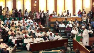 Shugaba Muhammadu Buhari na Najeriya yana jawabi a gaban Majalisar Dokokin Najeriya