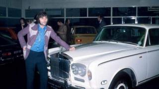George Best with the Rolls-Royce Silver Shadow he bought in December 1972
