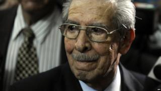 General Efrain Rios Montt pictured at his trial in 2013