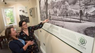 The Mayor of Derry and Strabane Michaela Boyle, explores the exhibits with Emma Barron, parks manager