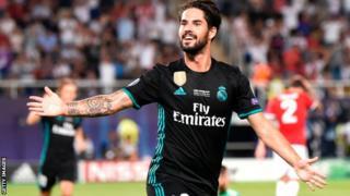 Real Madrid scorer Isco celebrates against Manchester United