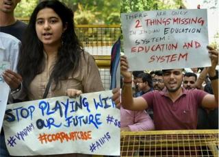 CBSE students protest over the alleged paper leak, at Jantar Mantar in New Delhi, on Thursday. T