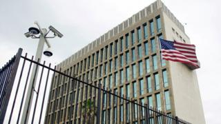 Exterior view of the US embassy in Havana, Cuba, June 19, 2017