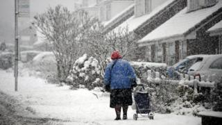 Pensioner in snow