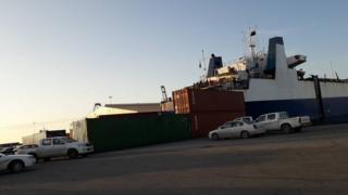 The cargo ship docked in Misrata