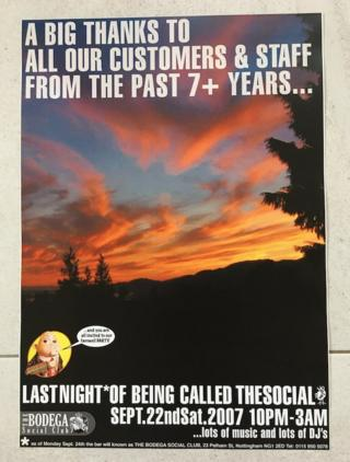 Poster from the last night of The Social