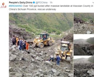 "Tweet by People's Daily newspaper says: ""#BREAKING Over 100 ppl buried after massive landslide at Maoxian County in China's Sichuan Province, rescue underway"""