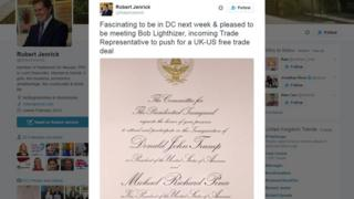"""Robert Jenrick tweet: """"Fascinating to be in DC next week & pleased to be meeting Bob Lighthizer, incoming Trade Representative to push for a UK-US free trade deal"""""""