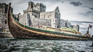 Viking Longship in Peel Harbour, Isle of Man courtesy Steve Babb