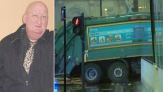 Harry Clarke and crashed bin lorry
