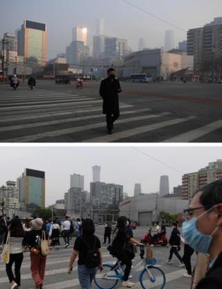 in_pictures A man crosses a normally busy intersection in Beijing on 11 February, 2020 (top) and people on the same street on 13 May
