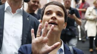 Frauke Petry reacts as she leaves a news conference in Berlin, Germany, September 25, 2017.