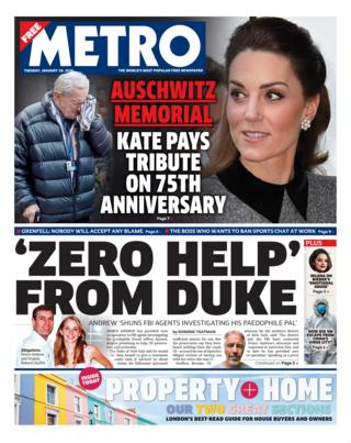 Tuesday's Metro front page