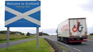 Scotland-England border sign