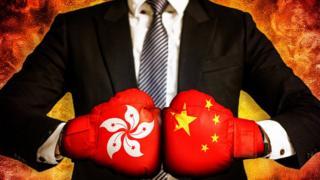 Representación guerra Hong Kong China