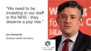 Jon Ashworth saying: We need to be investing in our staff in the NHS - they deserve a pay rise