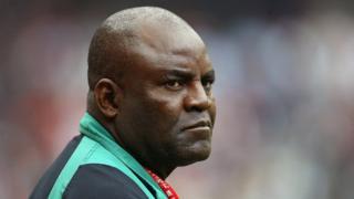 Nigeria coach Christian Chukwu during di African Nations Cup 2004 Semi-Final match between Tunisia and Nigeria