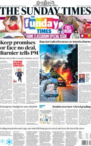 The Sunday Times front page 31 May