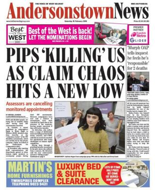 front page Andersonstown News Saturday 16 February 2019