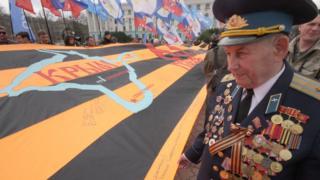 Военный в Крыму с георгиевской лентой