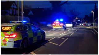 Crash scene, Wokingham
