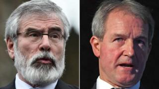 Gerry Adams and Owen Paterson (Reuters and PA)