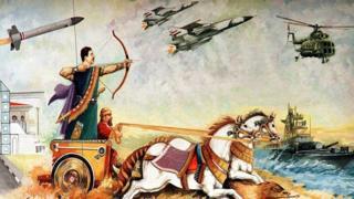 Mural que muestra a Saddam Hussein disparando una flecha a bordo de un carro antiguo tirado por caballos.