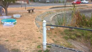 Dry duck pond