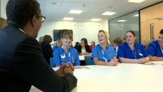 Nurses at the campaign launch with Vaughan Gething