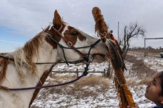 A Lakota boy places a sacred staff near a horse's nose on the Cheyenne River reservation in South Dakota.