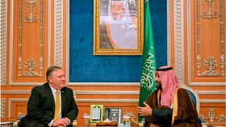 Secretary of State Mike Pompeo (left) meets with Saudi Crown Prince Mohammed Bin Salman (right) in Riyadh