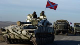 Rebel artillery in eastern Ukraine, 25 Feb 15